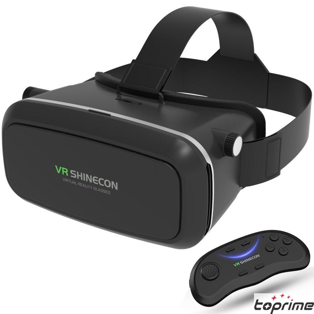 Vr Headset Toprime 3d Vr Glasses Upgraded And Much Lighter Version Virtual Reality Goggles For 4 5 6 0 Inch Smartphone Android Iphone 6 7 Plus Black With Remote Controller